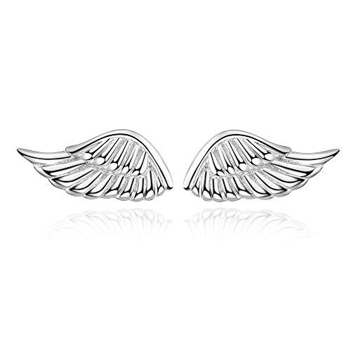 YFN Sterling Silver Guardian Angel Wings Stud Earrings for Women Girls (Stud Earrings) -