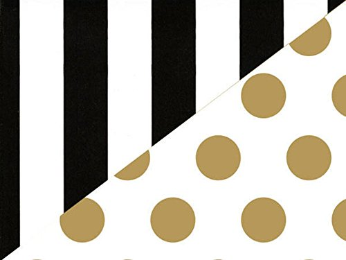 Black White Stripe Gold Polka Dot Reversible Wrapping Paper 15 Foot Roll ()