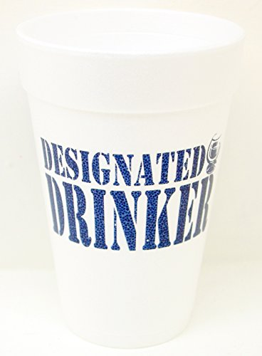 Designated Drinker Styrofoam Party Cups 10 (16 oz.) Pack - White with Blue Lettering Printed on Front & Back