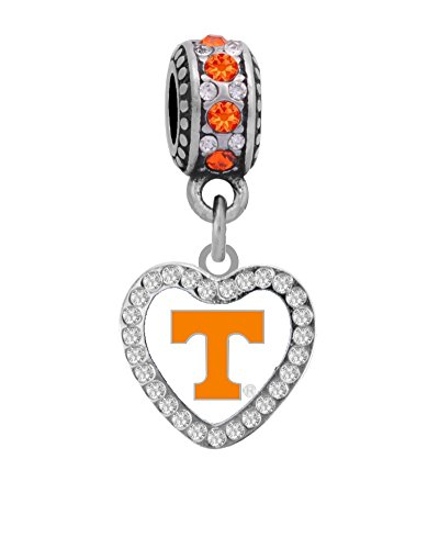 Tennessee Heart Charm - Final Touch Gifts University of Tennessee Crystal Heart Charm Fits European Style Large Hole Bead Bracelets