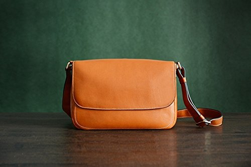 Custom Handmade Vegetable Tanned Italian Leather Messenger Satchel Bag Crossbody Shoulder Bag (Brown)