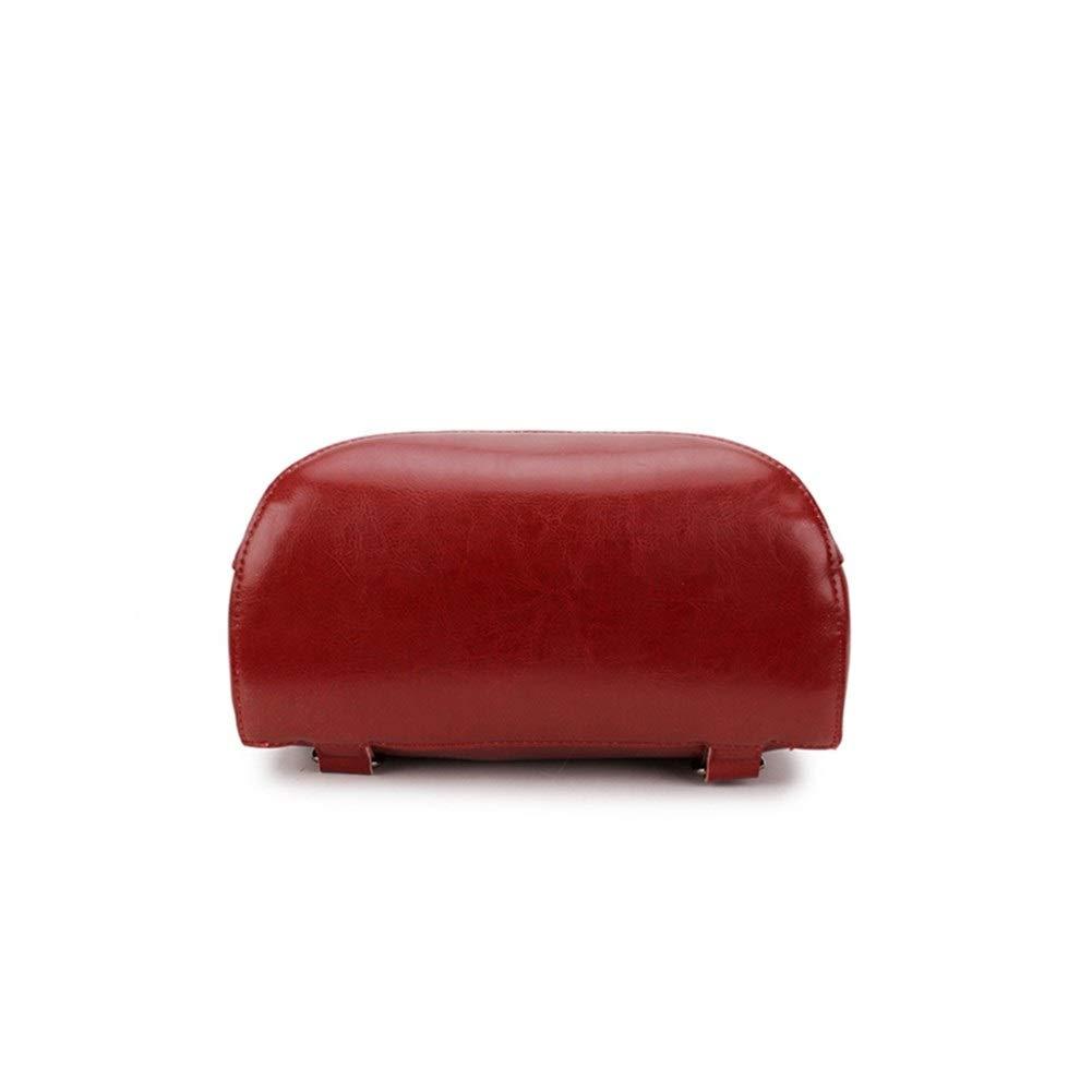 ZYSTMCQZ Äkta läder dammode ryggsäckar stöldskydd ryggsäck damer resväskor kvinnlig skola stor kapacitet skolväska (Färg: Röd) Röd