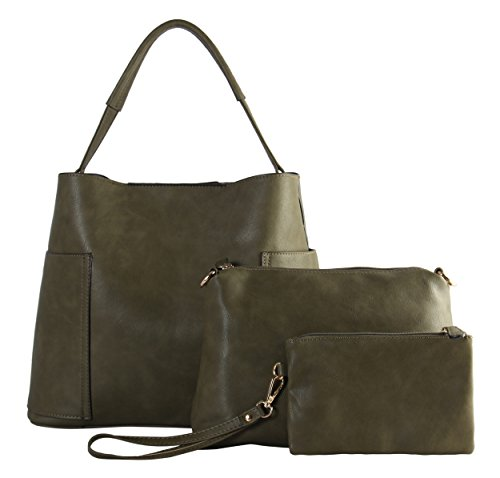 Large Patent Hobo Leather (Diophy PU Leather Large Hobo with Matching Medium & Small Cosmetic Bags 3 Pieces Set TT-6200)