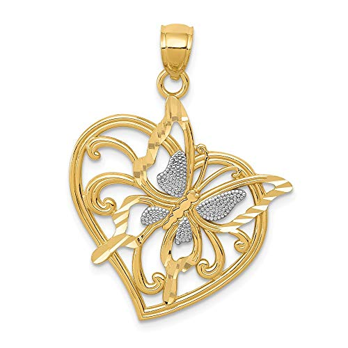 14k Yellow Gold Butterfly Heart Pendant Charm Necklace Animal Fine Jewelry Gifts For Women For Her ()