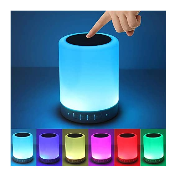 ShopAIS DEV LED Cool Touch Lamp Bluetooth Speaker, Wireless HiFi Speaker Light, USB Rechargeable Portable with TWS