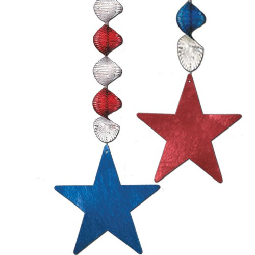 Beistle 50793 2-Pack Foil Star Danglers, 30-Inch