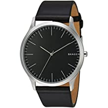 Skagen Men's Jorn Quartz Stainless Steel and Leather Casual Watch, Color: Silver-Tone, Black (Model: SKW6329)