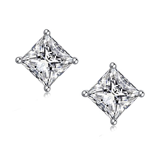 925 Sterling Silver Square Cubic Zirconia Stud Earrings Hypoallergenic, Clear Square Princess Cut AAA Fake Diamond Stud Earrings for Men and Women 4-8mm - jiamiaoi