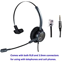 Telephone Headset RJ9 Jack with Noise Cancelling Mic With Extra 3.5mm Connetor for Mobiles Compatible with Avaya Nortel Aastra Toshiba Phone