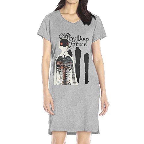 [GHHK Casual Women's Three Days Grace V-Neck T-shirt Dresses Ash S] (Hand Jive Costumes)