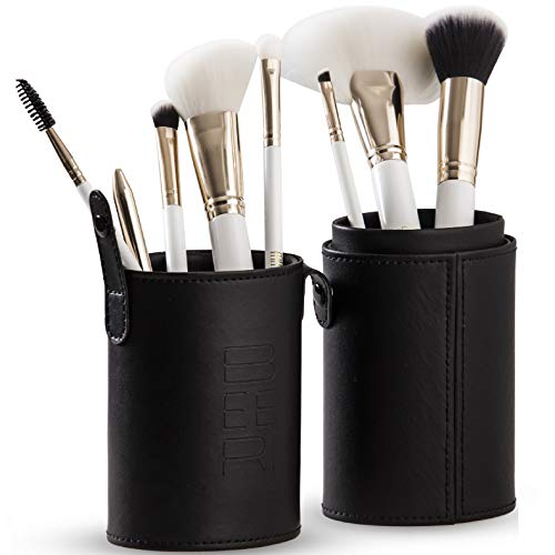 Professional Makeup Brush Set  8 Ultra-Soft, Synthetic Cosmetic Brushes and Travel Case / Holder  Complete Set of Makeup Brushes for Face, Eye, Brow, and Complexion by BEERI.