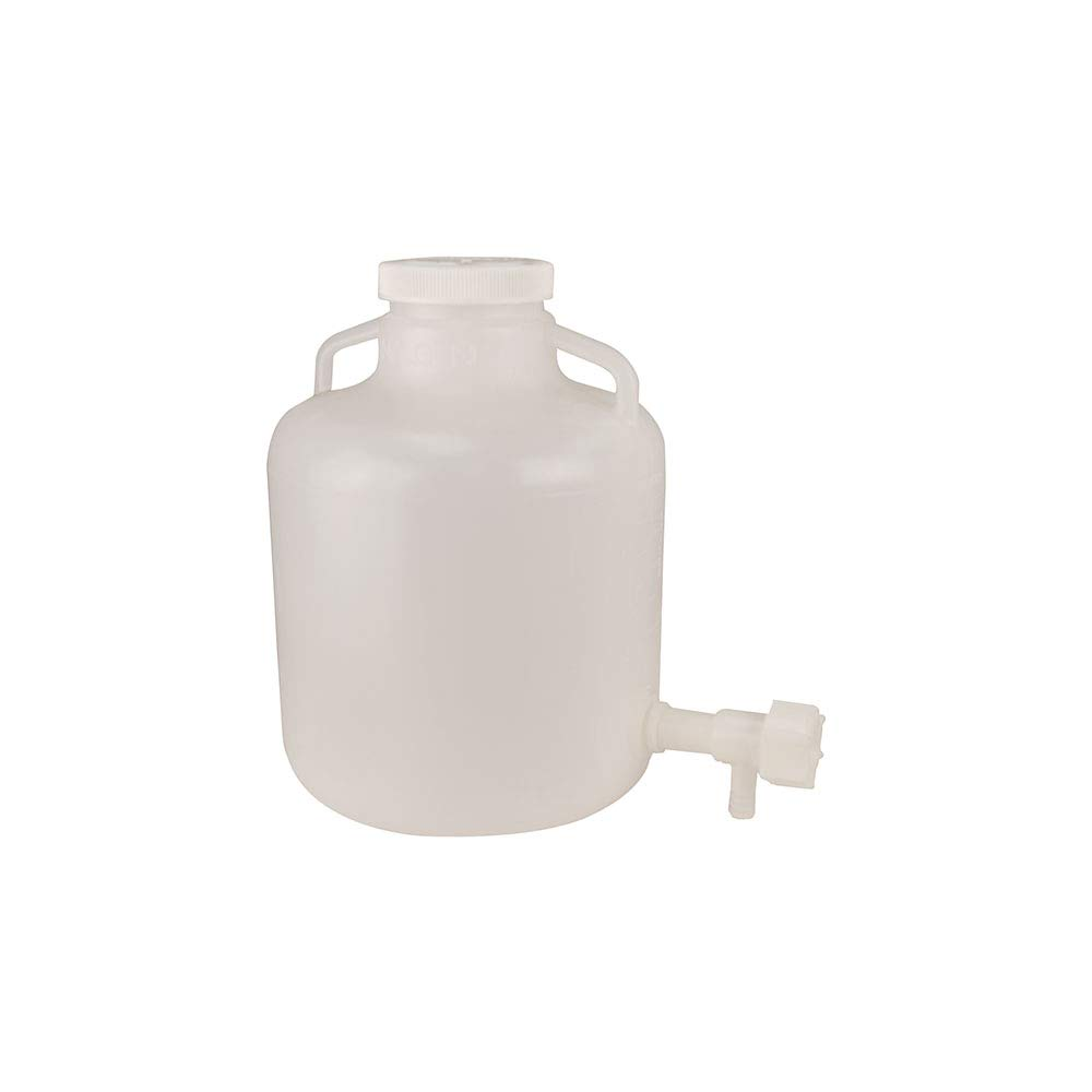 4 Gallon Nalgene Wide Mouth LDPE Carboy Modified by Tamco with a 3/4'' HDPE Spigot