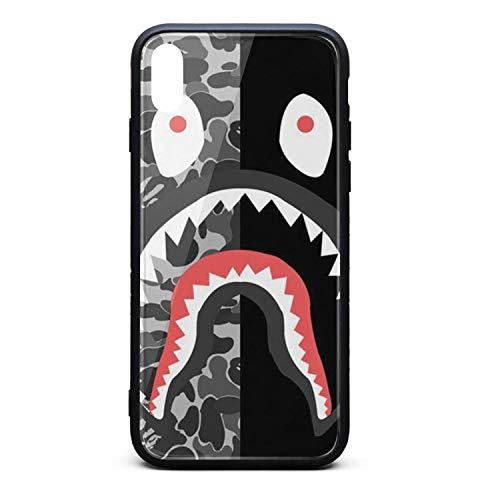 Phonerebey iPhone X/Xs Case,Shark Under The Black Anti-Scratch Shockproof Slim Cover Case Compatible with Apple iPhone X/Xs Case,TPU and Tempered Glass