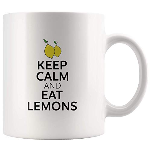 For Lemon Lover Only - Keep Calm and Eat Lemon - For Birthday, Christmas, Halloween, Prank Gag Gifts - 11oz Ceramic Cup