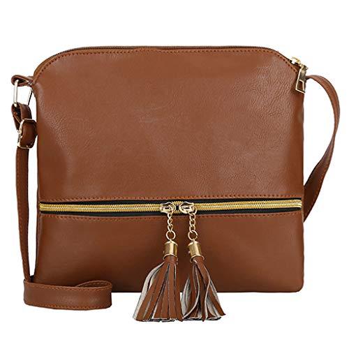 Price comparison product image Women Leather Tassel Crossbody Bag Pure Color Shoulder Bags Messenger Bag