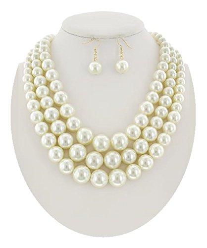 Designer Inspired Necklace Set (Large Pearl Necklace Set Designer Inspired Jewelry (#109) (Ivory))