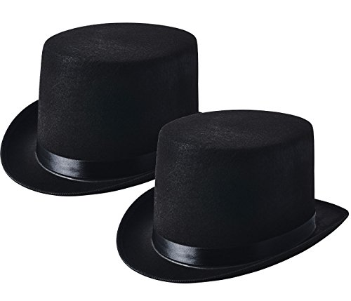 NJ Novelty - Black Felt Top Hat, Costume Dress Up Party Hat, Set of 2 (Adult Novelty Hats)