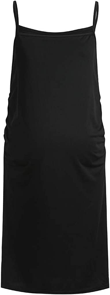 Maternity Dress Solid Sleeveless Pregnant Props Bodycon Casual Mini Dresses