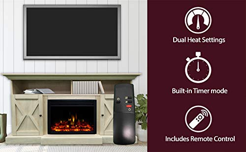 CAMBRIDGE 62-in. Summit Farmhouse Style Deep Log Insert, White, CAM6215-1WHTLG3 Electric Fireplace Mantel
