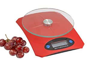 Creative Home Portion Pro Digital Kitchen Scales with Tempered Glass Round Top, Red