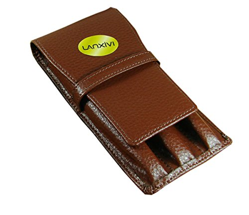 Lanxivi Cowhide Leather Coffee Triple Pen Pouch Separate Slot Pen Case