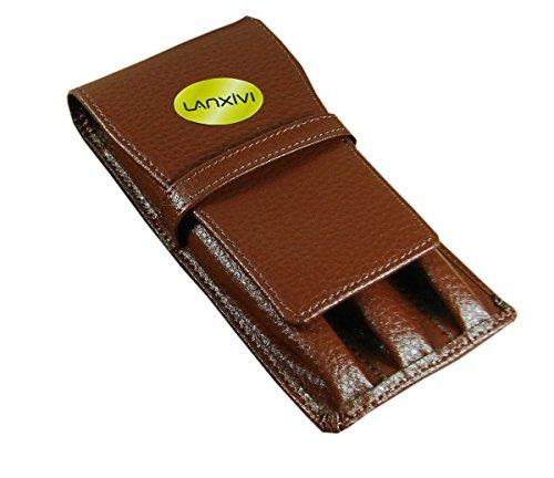 Lanxivi Cowhide Leather Coffee Triple Pen Pouch Separate Slot Pen Case (Pen Boxes)