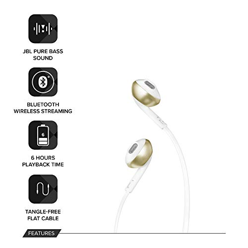 JBL T205BT Wireless in-Ear Headphones with Three-Button Remote and Microphone (Silver)