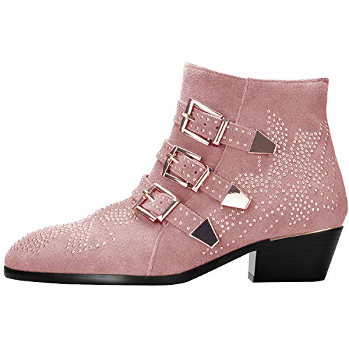 (Boots for Women,Women's Leather Boot Rivets Studded Shoes Metal Buckle Low Heels Ankle Studded Booties Suede Pink Gold 9 Size)