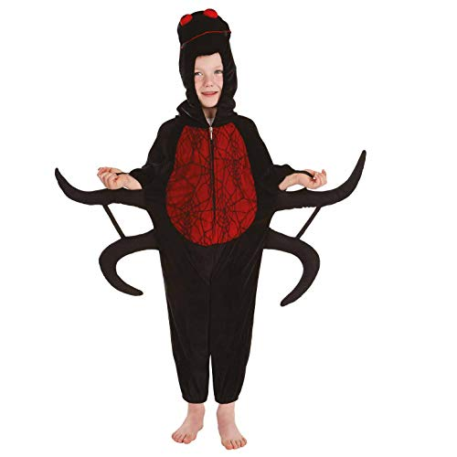 (fun shack Kids Spider Costume Childrens Black Hooded Onesie Halloween Outfit -)