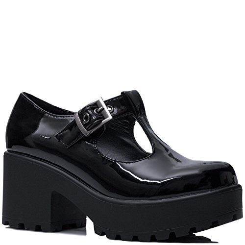 Spylovebuy Adjustable Buckle Block Heel Ankle Boots Shoes Black Patent Sz (Buckle Black Patent Ankle Boots)
