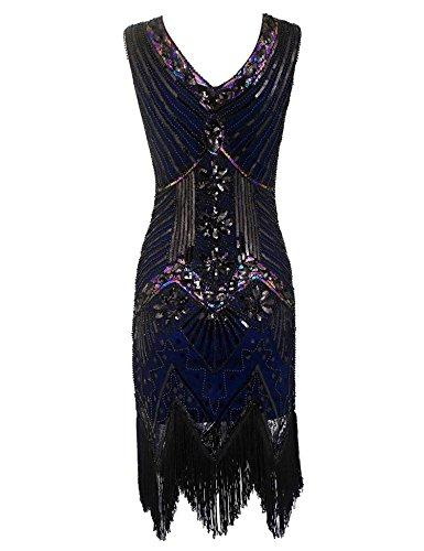Blue Bifast Hem Women's Dress Flapper Tassels Flapper Beaded Gatsby Fringed Lace 1920s Dresses Great Vintage C Neck V TTrPpwdq