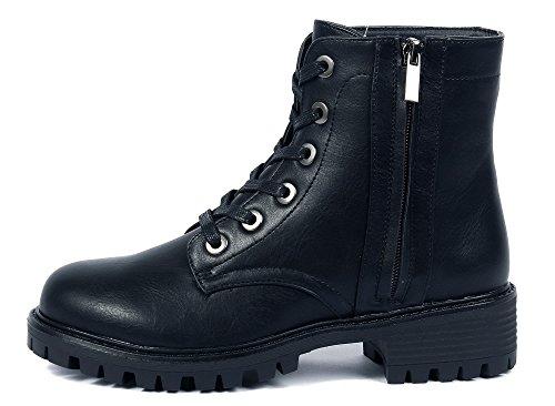 Cordones Cremalleras Caña Grueso Negro Botas AgeeMi Shoes Tacón Baja Mujer con RZxzW4qwE