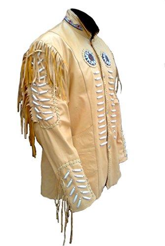 Classyak Huesos Flecos Hombre De Cuentas Beige Original Sheep Piel Y Chaqueta Western 0r6xFqw0