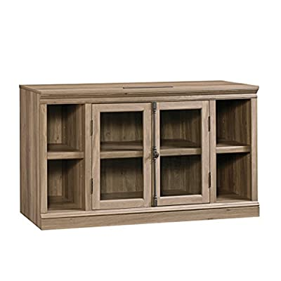 """Sauder 416488 Barrister Lane Entertainment Credenza, 60, Salt Oak Finish - Holds up to a 60""""TV Adjustable shelving Safety-tempered glass doors - tv-stands, living-room-furniture, living-room - 41U4BqUTafL. SS400  -"""