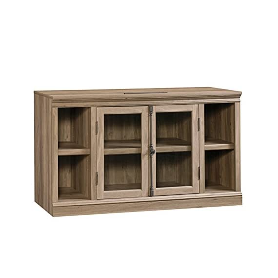 """Sauder Barrister Lane Entertainment Credenza, For TVs up to 60"""", Salt Oak finish - Accommodates up to a 60"""" TV weighing 95 lbs. or less Large adjustable shelf behind framed, safety-tempered Glass doors holds audio/video equipment Two small adjustable shelves - tv-stands, living-room-furniture, living-room - 41U4BqUTafL. SS570  -"""