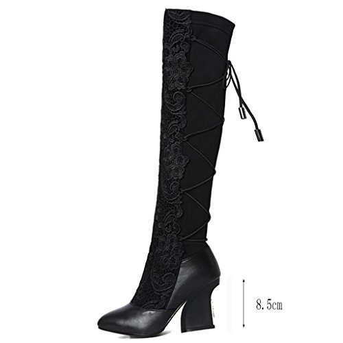 Large Party Kitzen A High High Boots Ladies Fashion Knee Thigh Heels Lace Black Boots Wedding Boots Size Knight Over Flowers Shoes High Women Boots FwFq10