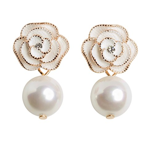 MISASHA Designer Imitation Pearl Camellia Charm Dangle Earrings For Women (Ivory)