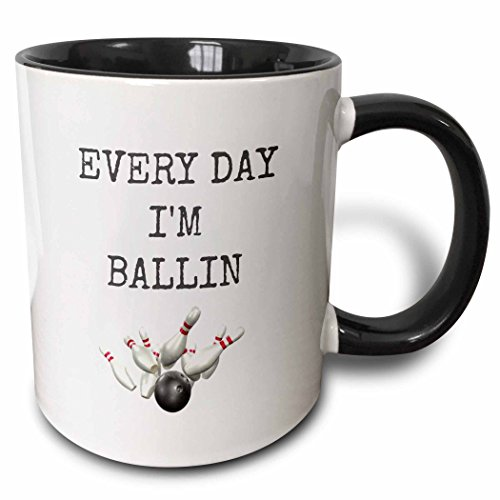 Pin Bowling Photo (3dRose 172357_4 Every Day Bowling Ball and Pins Picture Black Lettering Two Tone Mug, 11 oz)
