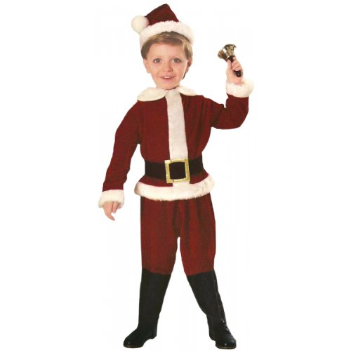 [Toddler Plush Santa Suit Costume - Toddler] (Childrens Santas Helper Costume)