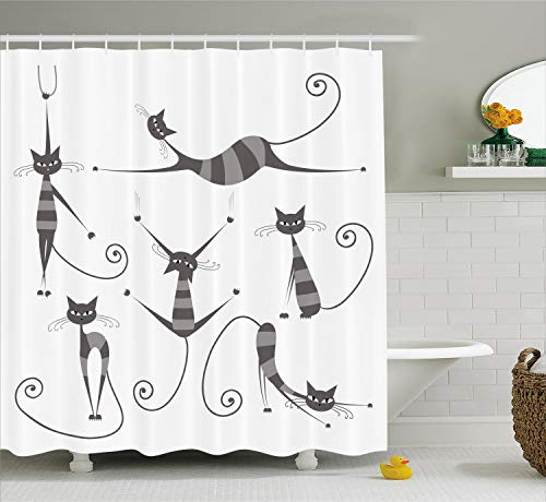 Ambesonne Cat Shower Curtain, Furry Skinny Striped Cats in Several Funny Body Postures Whiskers Feline Paws Art Image, Cloth Fabric Bathroom Decor Set with Hooks, 70