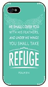 He should cover you with his feathers and under his wings you should take refuge - Psalm 9:14 - Vintage - Bible verse iPhone 5 / 5s black plastic case