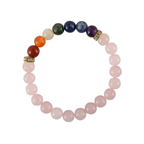 Aatm Natual Healing Gemstone Seven Chakra with Rose Quartz Charm Bracelet for Healing and Meditation Stone for Love and Gift (Beads Size - 7-8 mm) ()