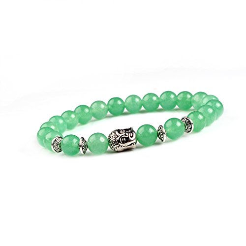 Joya Gift Natural Green Aventurine 8MM Round Beads Buddha Head Gemstone Chakra Bracelet for Women Charms Men Jewelry