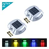 YUELGUANG Solar Dock Light- Set of 2- LED Deck Light Solar Powered Path Road Dock Lights Outdoor Warning Step Lamps for Driveway Garden Deck Walkway Backyard Fence Patio(2 Pack,Blue)
