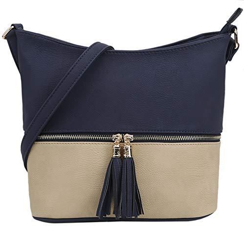 DELUXITY Medium Size Hobo Crossbody Bag with Tassel/Zipper Accent (Navy/Beige)