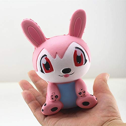 WeYingLe Squishy Jumbo Slow Rising Squishies Panda Dog Deer Bunny Rabbit Football Rugby Car Star Cake Kawaii Squishies Cream Scented Toys for Kids and Adults, Lovely Stress Relief Toy. (Rabbit Pink)