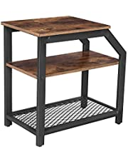 VASAGLE Industrial Side Table with 3 Storage Shelves, End Table with Metal Mesh, Brown ULNT58BX