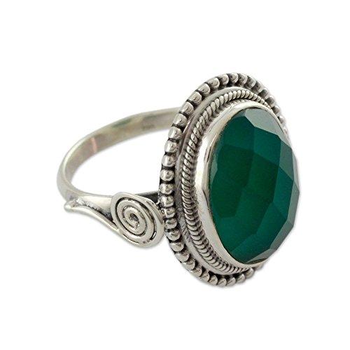 NOVICA Enhanced Onyx .925 Sterling Silver Cocktail Ring, Green - Ring Novica Green