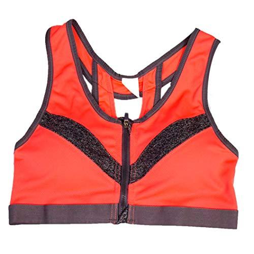 TWGONE Women Sport Bra Running Gym Yoga Padded Fitness Workout Zipper Stretch Top Underwear(L,Orange) ()