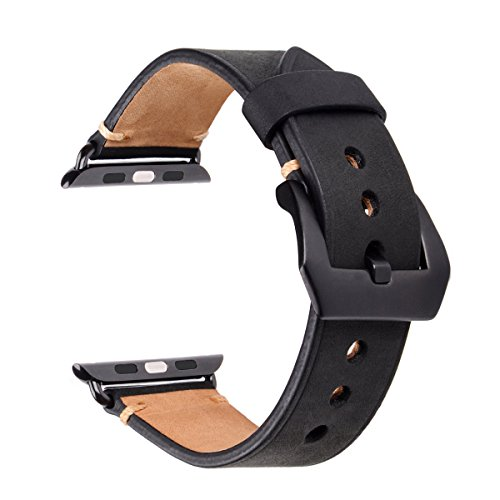 - Compatible with Apple Watch Band 42mm 44mm, Genuine Leather iWatch Strap with Black Metal Clasp Buckle for Apple Watch Series 4 (44mm) Series 3 2 1(42mm) Sport Edition (Black with Black Adaptor)